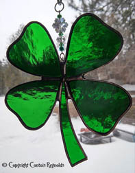 stained glass 4 leaf clover suncatcher