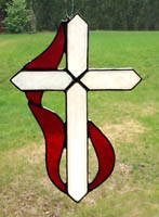 stained glass Cross & Flame suncatcher