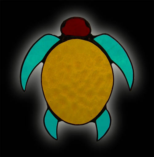 Native American Inspired Turtle Symbol Stained Glass Suncatcher