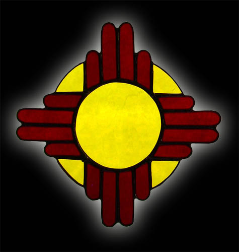 New Mexico Flag Zia Sun Symbol Stained Glass Suncatcher