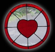 stained glass 10 inch Romantic Heart Window