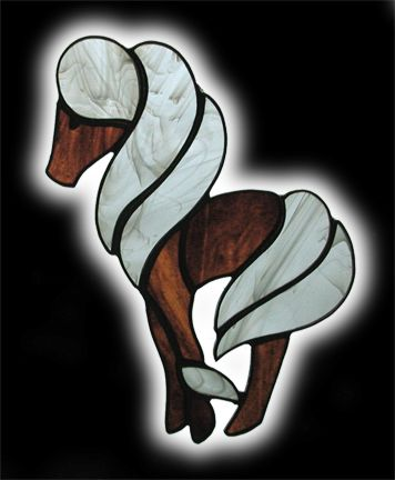 stained glass standing pony suncatcher