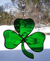 Stained Glass 3 Leaf Clover Shamrock Suncatcher