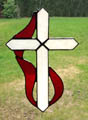 Stained Glass Christian Cross & Holy Spirit Flame Suncatcher